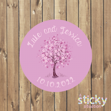 Personalised Wedding Stickers - Cherry Blossom Design